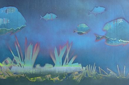 "Stardust Memories [2014]  -  20 x 30""  -  spray paint on wood panel"